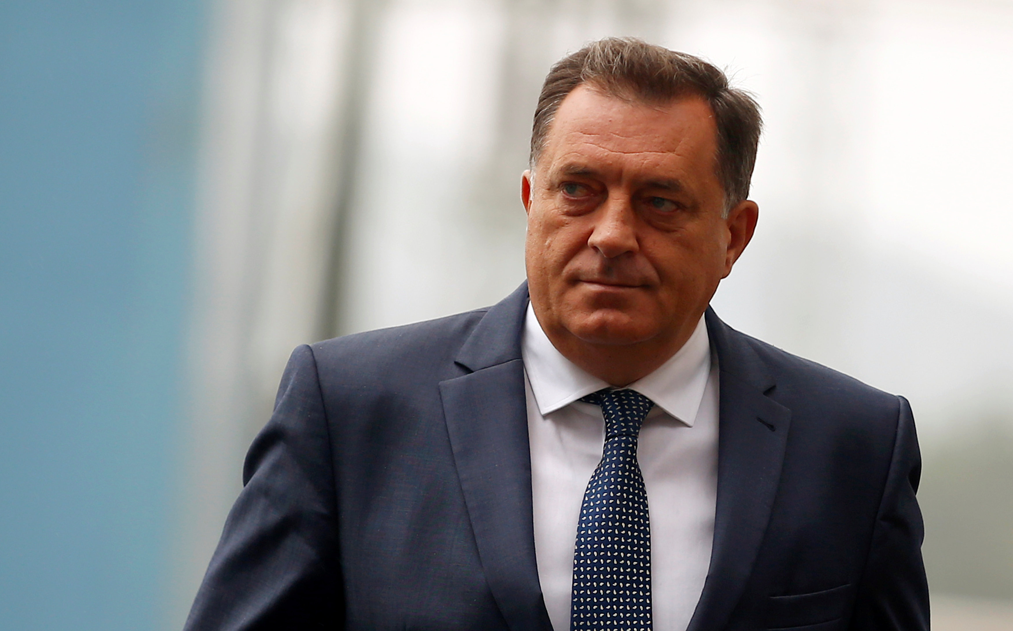 President of the Republika Srpska, Milorad Dodik, arrives to the ceremony marking the official commissioning of a 300 MW coal-fired power plant, the first and biggest private investment in the country's energy sector by UK based UK-based Energy Financing