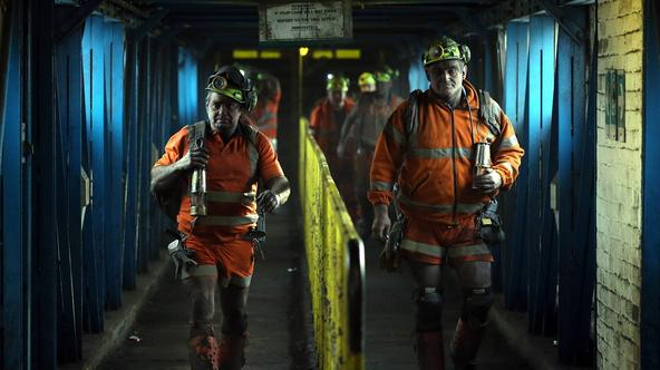 Miners leave after working the final shift at Kellingley Colliery on its last day of operation in north Yorkshire, England, December 18, 2015. Kellingley is the last deep coal mine to close in England, bringing to an end centuries of coal mining in Britai