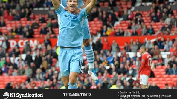 '23.10.11. Manchester United v Manchester City. Edin Dzeko scores City's 6th goal. Credit: The Times Online rights must be cleared by N.I.Syndication Photo: NI Syndication/PIXSELL'