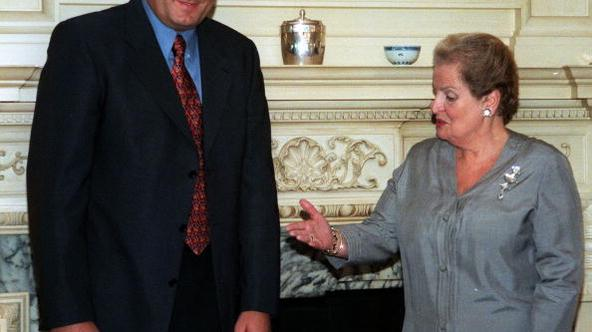 WASHINGTON, :  US Secretary of State Madeleine Albright (R) meets with Prime Minister Milorad Dodik of the Republika Srpska before their bilateral meetings 30 September, 1999, at the US State Department in Washington, DC.      AFP PHOTO/Mario TAMA (Photo