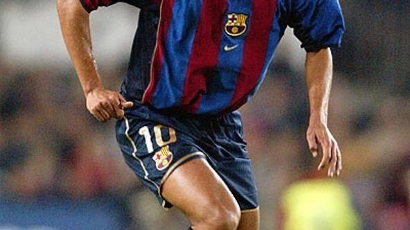 '9 Apr 2002:  Rivaldo of Barcelona runs with the ball during the UEFA Champions League quarter-final second leg match between Barcelona and Panathinaikos played at the Nou Camp, in Barcelona, Spain. B