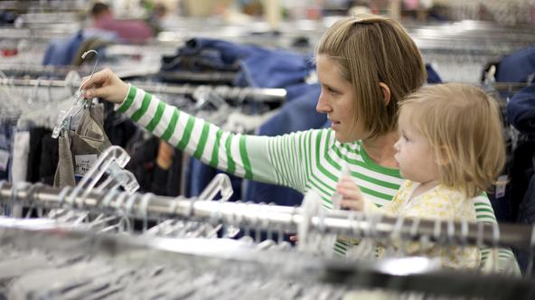 1010-33 049   1010-33 Thrift Stores  Photos of Jessica Tessem and her daughter Ellie shopping at