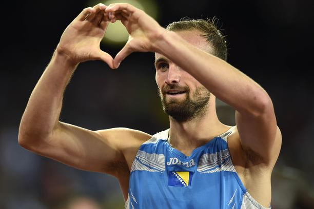 Amel Tuka of Bosnia-Herzegovina gestures after his men's 800 metres semi-final at the 15th IAAF World Championships at the National Stadium in Beijing, China August 23, 2015.  REUTERS/Dylan Martinez