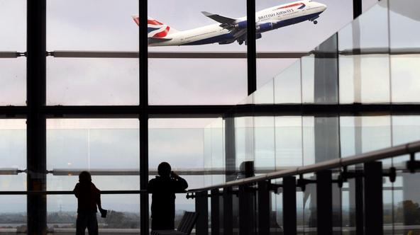 'A British Airways passenger jet takes off from Terminal 5, at Heathrow Airport, west of London, on October 29, 2010.  British Airways on Friday posted net profits of 107 millions pounds for the first