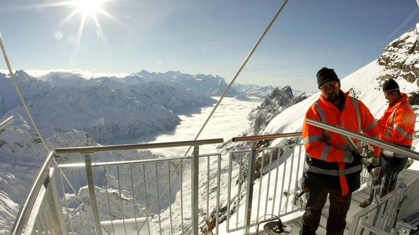 Alpe, Titlis, Titlis Cliff Walk, viseći most, most (1)